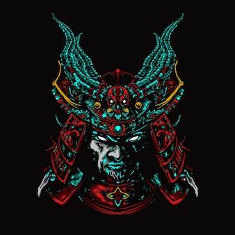 Illustrazione colorata samurai testa di mecha