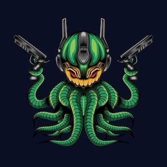 Illustrazione di mecha da monster octopus con due armi nella sensazione di gioco