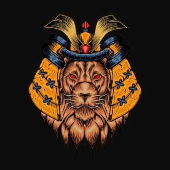 Illustrazione della testa del leone di mecha