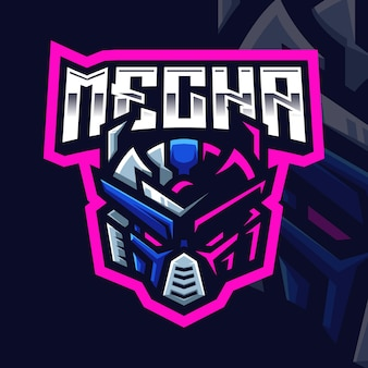 Modello di logo di gioco della mascotte di mecha per lo streamer di esports facebook youtube