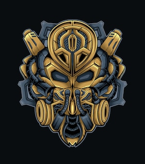 Maschera mecha per logo sportivo o vettore mascotte da gioco