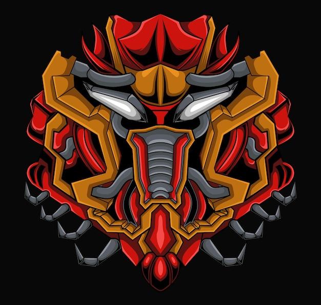 Illustrazione della testa del mostro di mecha