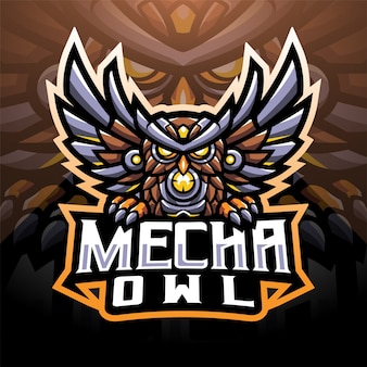 Mecha gufo esport mascotte logo design