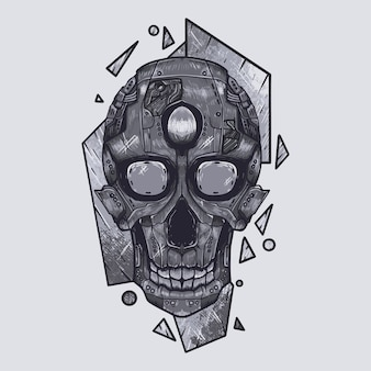 Mecha robot cranio illustrazione arte arte