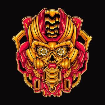 Illustrazione del design della mascotte del teschio di mecha
