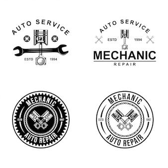 Set di logo meccanico, servizi, ingegneria, riparazione, pistone.
