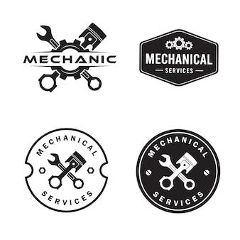 Set logo meccanico, servizi, ingegneria, riparazione.