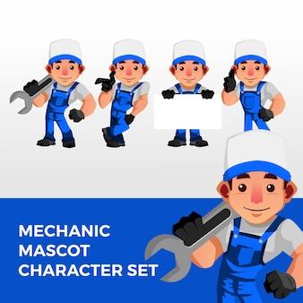 Logo del set di caratteri mascotte meccanico