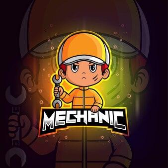 Logo colorato esport mascotte meccanico