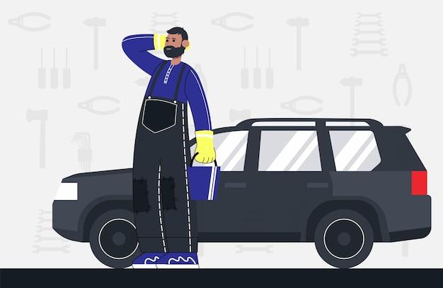 Il meccanico sta sul backgroud di un'automobile e degli strumenti. colore piatto del fumetto di vettore.