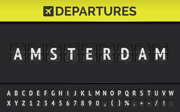 Carattere di bordo di vibrazione dell'aeroporto meccanico con informazioni di volo della destinazione di partenza in europa amsterdam con l'icona di aeromobile. vettore