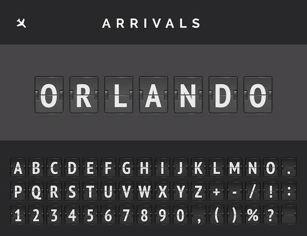 Carattere del tabellone segnapunti meccanico dell'aeroporto con informazioni di volo della destinazione di arrivo negli stati uniti: orlando con l'icona di aeromobile.