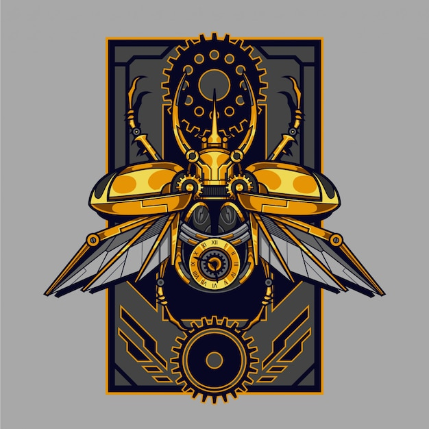 Illustrazione di steampunk di scarabeo atlante meccanico e design della maglietta