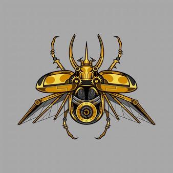 Atlante meccanico scarabeo illustrazione steampunk