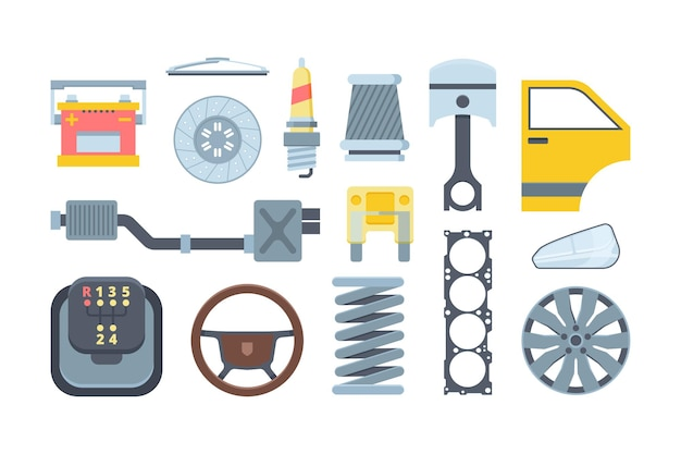 Set di illustrazioni piane di pezzi di ricambio per auto meccaniche. raccolta di componenti per auto. faro, copriruota, batteria. assemblaggio automobilistico.