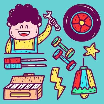 Illustrazione di doodle meccanico simpatico cartone animato