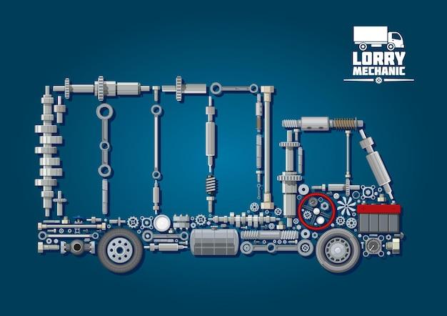 Parti meccaniche del motore disposte in sagoma di un camion con ruote, volante, batteria, tachimetro e dispositivi di fissaggio.