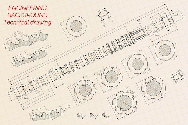Disegni di ingegneria meccanica su sfondo blu. broccia. disegno tecnico. coperchio. planimetria. illustrazione vettoriale.