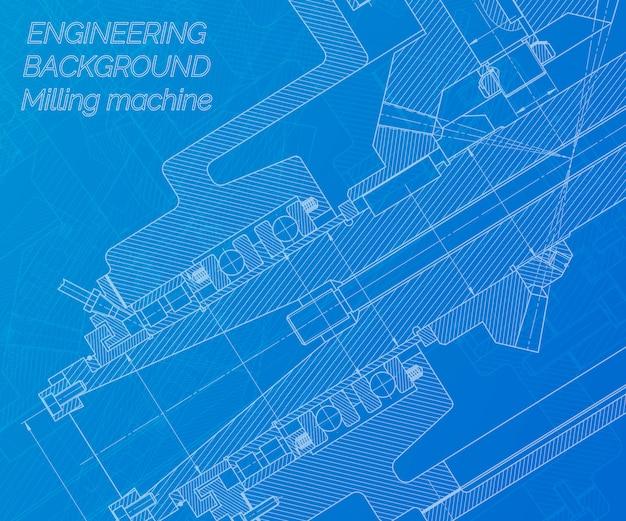 Disegni di ingegneria meccanica su fondo blu. mandrino per fresatrice. disegno tecnico.