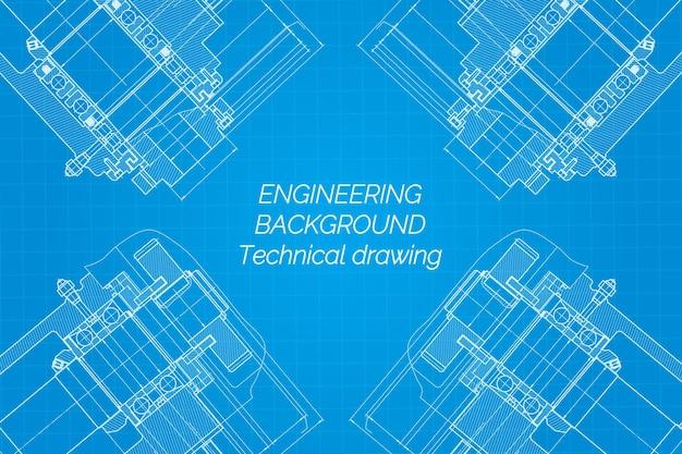 Disegni di ingegneria meccanica su sfondo blu