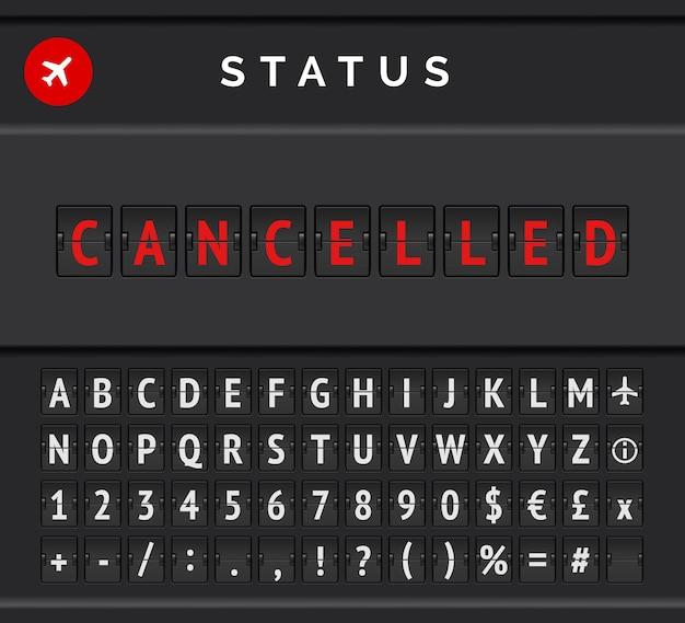 Orario lavagna a fogli mobili con informazioni sullo stato di partenza o arrivo del volo: annullato, con icona dell'aeroplano e carattere dell'aeroporto.