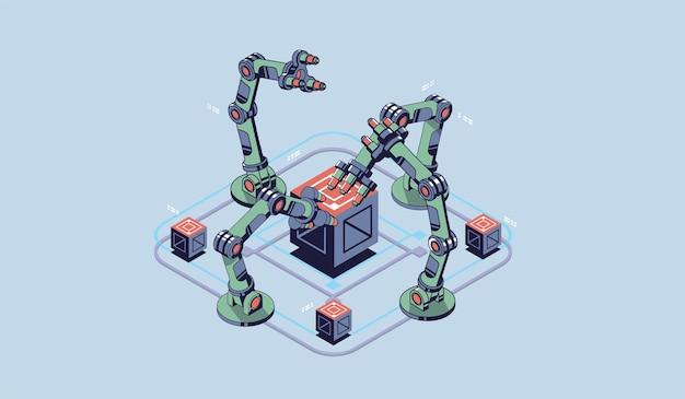 Lancetta meccanica. manipolatore robot industriale. moderna tecnologia industriale.