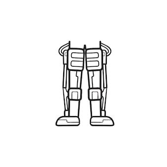 Gambe di robot meccanico dell'icona di doodle di contorni disegnati a mano di android. concetto futuristico della medicina della biotecnologia