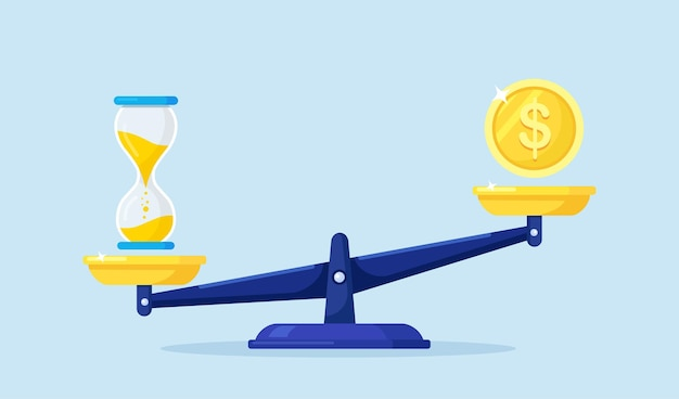 Bilancia meccanica con moneta dollaro e clessidra. equilibrio di tempo e denaro. confronto lavoro e valore, profitto finanziario, reddito annuo, reddito futuro. contanti e orologio su bilancia