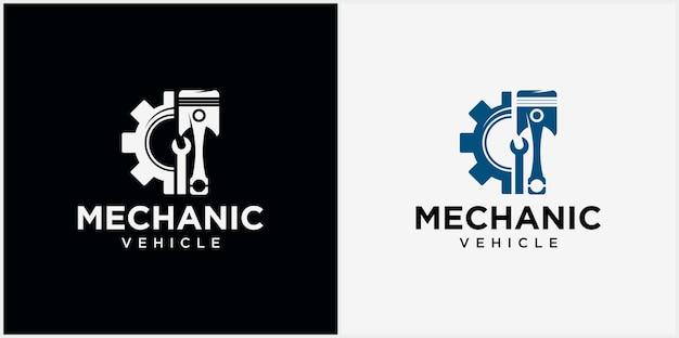 Logo della tecnologia meccanica simbolo del logo automobilistico illustrazione vettoriale di un logo del pistone