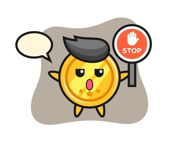 Carattere della medaglia che tiene un segnale di stop