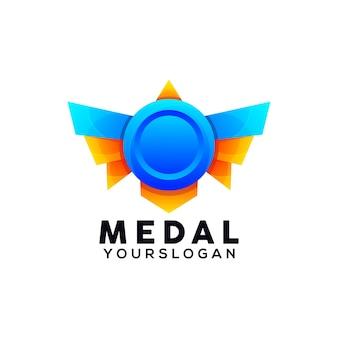 Modello di progettazione logo colorato medaglia