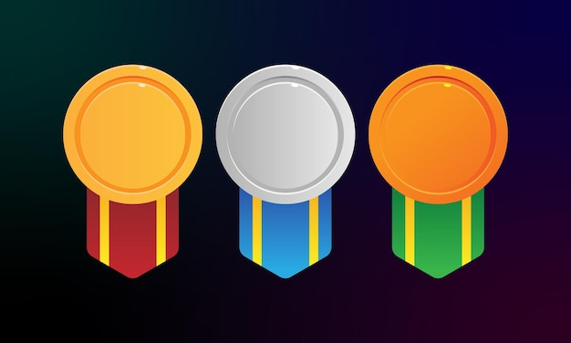 Set di medaglie medaglia d'oro medaglia d'argento medaglia di bronzo