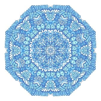 Medaglione mandala vettore modello blu e bianco con arabeschi