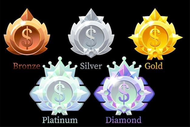 Medaglie dollaro oro, argento, bronzo, platino e diamante. set di medaglie di valuta sul nero Vettore Premium