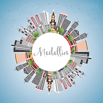 Orizzonte della città di medellin colombia con edifici grigi, cielo blu e spazio di copia. illustrazione di vettore. viaggi d'affari e concetto di turismo con architettura storica. paesaggio urbano di medellin con punti di riferimento.