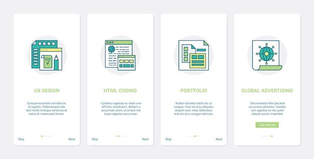 Servizio di pubblicità sui media, portfolio di designer e sviluppatori. ux, ui onboarding app mobile imposta tecnologia di codifica html, pubblicità globale e design dell'interfaccia