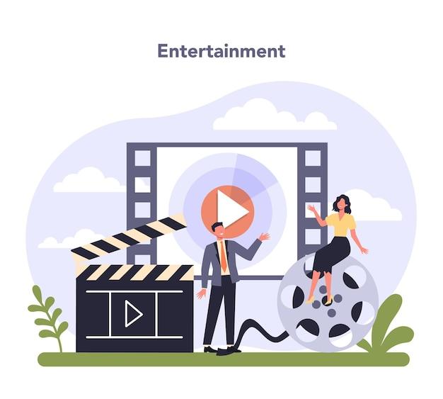 Industria dei media e dell'intrattenimento. illustrazione vettoriale piatto isolato
