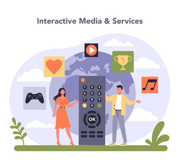 Industria dei media e dell'intrattenimento. comunicazione e servizi multimediali. mass media, editoria e settore radiotelevisivo dell'economia. illustrazione vettoriale piatto isolato