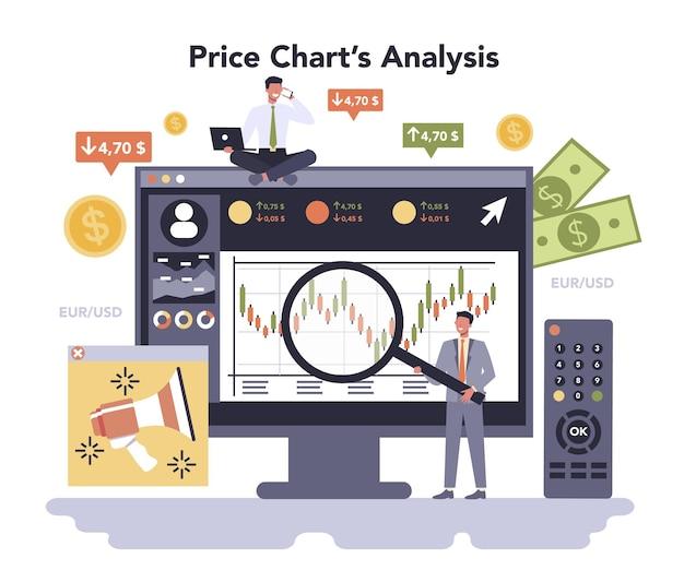 Servizio o piattaforma online del settore dei media e dell'intrattenimento. comunicazione multimediale. settore dei mass media dell'economia. analisi del grafico dei prezzi. illustrazione vettoriale piatta