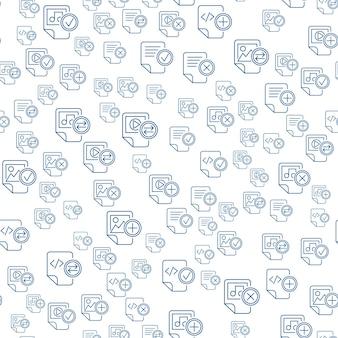 Icone di contorno di file multimediali su sfondo bianco