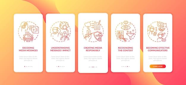 Conoscenza dei media nella schermata della pagina dell'app mobile con concetti. impatto dei messaggi, procedura dettagliata per la responsabilità dei media in cinque passaggi, istruzioni grafiche. modello di interfaccia utente con illustrazioni a colori