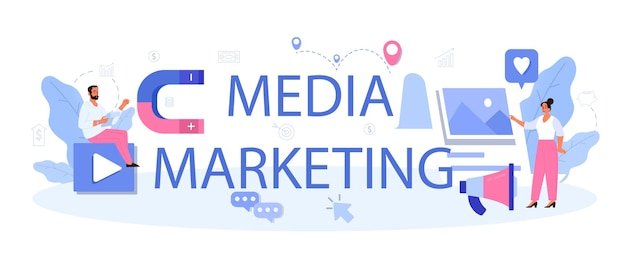Intestazione tipografica di marketing multimediale