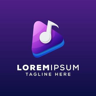 Modello di logo di concetto di musica multimediale
