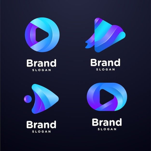 Media play logo template collection