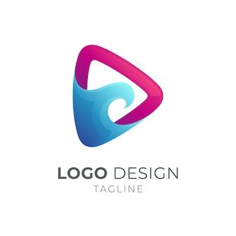 Progettazione del modello di logo dell'onda di riproduzione multimediale isolata