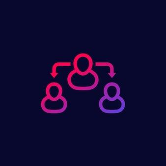 Icona di vettore di mediatore o intermediazione su dark