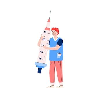 Medico o medico con l'illustrazione piana di vettore del fumetto della siringa enorme isolata
