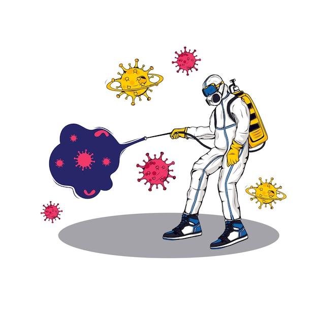 Il medico ha spruzzato un disinfettante sul virus