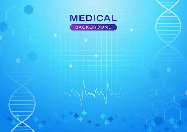 Sfondo astratto medico con concetto in luce blu dna e frequenza cardiaca
