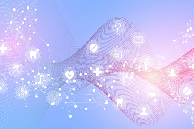 Fondo astratto medico con il modello dell'icona di sanità. concetto di innovazione medica. linee e punti del filamento di dna, flusso d'onda, struttura delle molecole di dna per il tuo design. illustrazione vettoriale